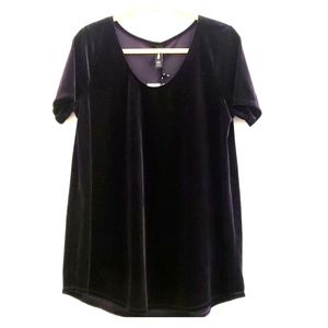 NWT Agnes & Dora Purple Velvet Everyday Tee